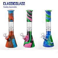 """silicone Bong kits proveta projetar 10"""" de silicone fumar água tubos de silicone cachimbo de água cachimbo de água inquebrável vidro filtro Bong dar sonda"""