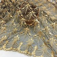 Fflacell 50 * 125cm de haute qualité Tissu de dentelle africaine Gold Royal French Net Broderie Tulle Tulle Dentelle pour la tenue de fête nigériane