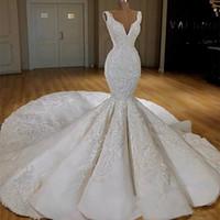 럭셔리 2020 웨딩 드레스 인어 깊은 V 목 레이스 아플리케 신부 가운 비즈 긴 기차 Vestidos de Novia