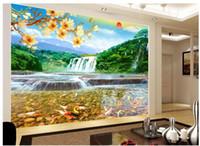 자연 차원은 중국 스타일의 물과 풍부한 풍수 풍경 폭포 벽을 배경 화면