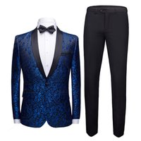 Floral Jacquard Costume Homme Men Suits for Wedding Tuxedos ...