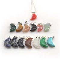 Mixed Lot Naturstein-Mond-Form-Anhänger Silber-Farben-Ketten-Halsketten Crescent Chocker für Frauen 12pcs / lot
