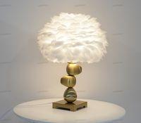 Piuma Ombra lampada da tavolo in metallo Comodino scrittorio annata luce di notte di Natale Decor soft Vintage Camera da letto Studio White Room