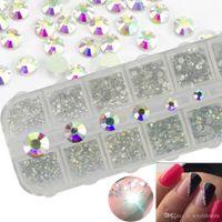 1 Gehäuse Kristall Rhineston Nägel Tipps Klar / AB Kein Hot Fix Klebstoff DIY Glitter Designs Nail Art Maniküre Mischgröße 3D Steine