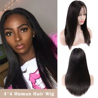 4X4 Straight Human Hair Wigs Middle Part 100% Unprocessed Br...