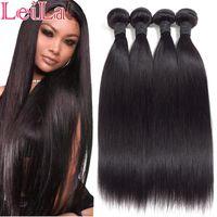 Leila 10A peruana extensiones de cabello recto manojos 100% mechones de cabello humano para no Extensiones del pelo de Remy del color natural puede comprar 1/4 de las PC