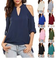 Tasarımcı Lüks Kadınlar Gömlek şifon Bluzlar Hollow Out Uzun Fener Kol V Yaka Düz Gömlek Bayan Moda Seksi Katı Renk Bluz S-5XL