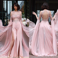 2020 Sexy Pant Suit Split Sides Prom Dresses with Chiffon Ov...