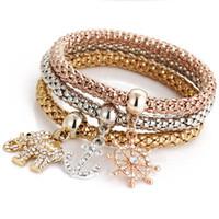 Mariposa encanto pulseras brazalete Establece 3PCS Boho de la pulsera elástico palomitas cadena de la joyería de bloqueo corona del cráneo de la vendimia del brazalete para la Mujer