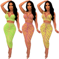Sexy Printed Sling Tops+ skirt Sleeveless Women Two Piece Set...