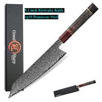 Enkel 8,2 '' Damaskus Küchenmesser handgemachte Kochmesser 67 Schichten VG10 japanischen Damaskus Stahl Kiritsuke Küchenmesser Geschenkbox