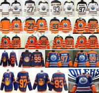 الرجال النساء الاطفال ادمونتون زيتون ليون draiseaitl ريان نوجنت هوبكنز وين Gretzky 97 ماجدافيد أزرق أبيض البرتقال الجليد الهوكي الفانيلة