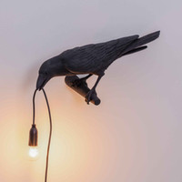 Oda Işık Fikstür Yemek Salon Yatak Odası Tak Sanat Kuş Lambası Seletti Kuş Duvar Lambası Modern Siyah Beyaz Reçine Kuş Aplik