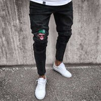 Hommes Jeans Skinny Stretchy Biker Jeans Ripped Motif Cartoon Détruits Taped Slim Fit Noir Denim Pants 2020 New