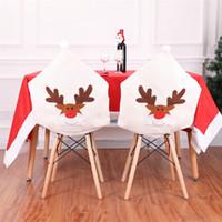 Elk Cap Noel Sandalye İşlemeli Geyik Şapka Başkanı Arka Noel Ev Ziyafet Sofra Parti Dekorasyon JK1910XB Kapakları