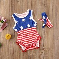 2020 Vêtements d'été enfant en bas âge Bébés filles manches États-Unis Independence Days bébé Bandeaux ensemble deux pièces Set 2020 D6415 rayé Jumpsuit