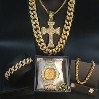 Or Montre Homme Hip Hop Hommes Montre Collier + Collier + Bracelet Bague Combo mis Iced outed Cubain d'or Set bijoux