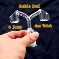 4mm spessa doppia tazza al quarzo per bong di vetro 10mm 14mm 18mm maschio femmina addensante bocce piatta superiore fondo domeless chiodi