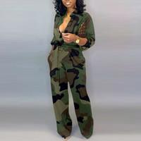 Женщины камуфляж напечатаны плюс размер с длинным рукавом Bodycon комбинезон повседневная упаковка пояса кнопка среди женщин общих коммуникаций