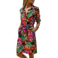 Çizgili Floar Nedensel Elbise Kadınlar 2019 Yaz Seksi Mini Parti Şifon Elbise Bayanlar Büro Gömlek Elbise Bayanlar Bandaj Elbise Vestido