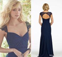 Marina azul marino / azul oscuro Mangas de encaje Modesta de gasa Boda barata Vestidos de dama de honor de la clavadora Vestido de fiesta sexy para la criada del honor 1045