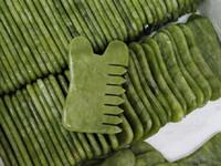 Doğal Yeşil Yeşim Taş Guasha Gua Sha Masaj Vücut kafa Tarak Sağlıklı Güzellik Gevşeme Cure Masaj