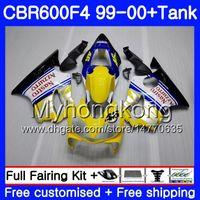 Gövde + Tank HONDA CBR600 F4 CBR 600 F4 FS CBR600 F 4 287HM.14 CBR600F4 99 00 CBR600FS CBR 600F4 1999 2000 sarı beyaz sıcak kaporta kiti
