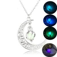 Луна Светящееся Ожерелье Драгоценный Камень Шарм Ювелирные Изделия Посеребренные Женщины 4 Цвета Каменные Бусины Кулон Полые Светящиеся Ожерелье Подарки