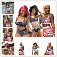 Femmes rayé Maillot de bain 2 pièces bikini ensemble Vest Tank Top Bra + Shorts Maillots de bain Branded Maillot de bain rayé États-Unis Patchwork Plage Maillots de bain D52701