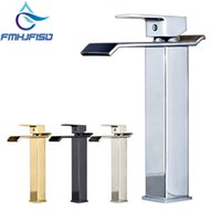 Luxury Modern Square Waterfall Spout Bathroom Basin Faucet T...