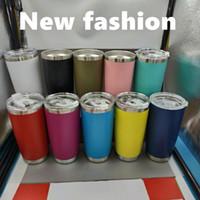 Paslanmaz Çelik Tumblers Bardaklar Kahve Kupalar Vakum Seyahat Kupa Metal Bira Tumbler Kapaklı 20 oz 10 Renkler VT0439