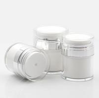 15 30 50G Perle blanc acrylique JAR sans air rond cosmétique crème pompe pompe cosmétique emballage bouteille