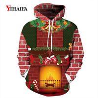 Felpe con cappuccio da uomo Felpe uomo uomo 2021 Christmas Wacshirt 3D Funny Sock Graphic Streetwear Pullover Tracksuit Xmas Costume Cosplay Felpa con cappuccio