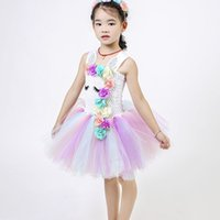 Flower Girls Unicorn Tutu Dress Pastel Rainbow Princess Girl...