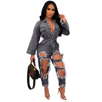 Fashionable Holes Ripped Women Jeans Jumpsuits Blue Black Sexy Long Sleeves Buttons V Neck Sash Straight Pants Rompers