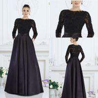 2019 дешевая черная мать невесты платья драгоценностей шеи длинные рукава кружевные аппликации карманные свадьбы гостевые платья плюс размер матерей
