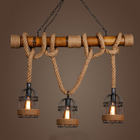 Countryside Vintage Pendant Light loft Hemp Rope Bamboo Iron Cage hanging lamp Hand Knitted Lighting Fixture for Restaurant bar