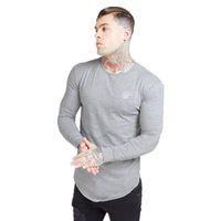 시크 실크 남성 레터링 긴 소매 T 셔츠 남성 가을 스웨터 힙합 스트리트 시크 티셔츠 실크 운동복