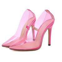 2019 Fashion pink PVC transparent pointed toe high heel shoe...