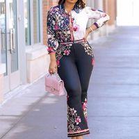 Kadınlar Için 2 Parça Setleri Afrika Setleri Yeni Afrika Baskı Elastik Bazin Baggy Pantolon Kaya Tarzı Dashiki Kollu Ünlü Suit Lady