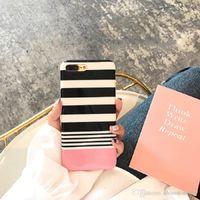 Полоски нашивки сотовый телефон Чехлы для Apple, iPhone iPhoneX 6 6s 7 8 Plus Luxury Fashion Pink Мягкая сотовый телефон задней стороны обложки случая