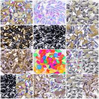100pcs Crystal AB Teardrop Cristalli del chiodo di figura Stones goccia posteriore piana Rhinestones per vetro 3D unghie e design di arte della decorazione
