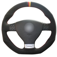 Diy اليد الخياطة الأسود الجلد المدبوغ أسود أحمر أصفر صانع سيارة المقود غطاء ل volkswagen golf 5 mk5 gti vw golf 5 r32