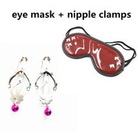 BDSM Nipple Clamps Fetish Eye Mask Blindfold for Erotic Play...