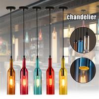 램프 매달려 빈티지 샹들리에 조명 E27 레드 와인 병 유리 LED 펜던트 조명 레스토랑 카페 바 호텔 와인 병