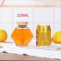 الزجاج العسل جرة ل220ML / 380ML البسيطة العسل الصغيرة زجاجة الحاويات وعاء مع ملعقة خشبية عصا EEA1353-6
