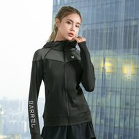 Cross- border sports quick dry yoga top fashion hooded loose ...