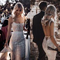 Luxuoso varredura 2020 Berta Boho sereia vestidos de noiva Lace Sequins Beads Sexy Backless Praia Vestido de Noiva Train Boho Vestidos De Novia