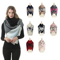Mulheres Inverno Xadrez Cachecol Moda Praça Quente De Malha Cobertor Xale Causal Viagem Ao Ar Livre Borla Esqui Cachecol TTA1671