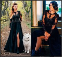 Black Prom Dresses Side Split Tulle A Line Evening Gowns wit...
